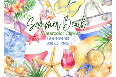 Watercolor summer beach clipart  vacation tropical clip art png  cloth