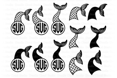 Mermaid Tail SVG Cut File, Mermaid Tail Monogram,  Mermaid Clipart.