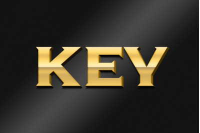 Key 3D Text Effect PSD