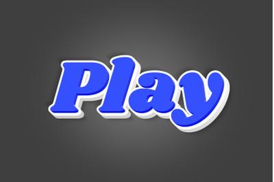 Play 3D Text Effect PSD