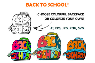 Back to school lettering in backpack shape