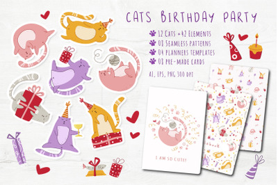Funny Cats Birthday Party - vector set