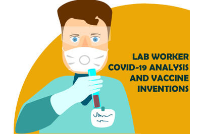 Lab worker in hazmat suit flat vector illustration