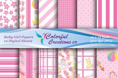 Baby Girl Set Digital Paper, Baby Paper, Girl Paper, Baby Shower Paper