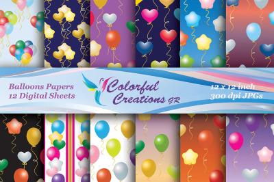 Balloons Set Digital Paper, Stars, Hearts, Scrapbook Paper, Background