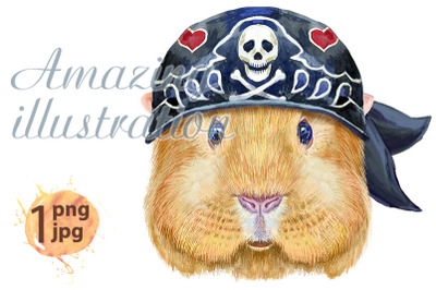 Watercolor portrait of Self guinea pig with bandana