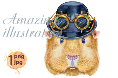 Watercolor portrait of Self guinea pig with hat bowler