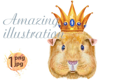 Watercolor portrait of Self guinea pig with golden crown