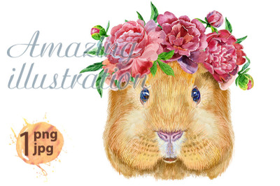 Watercolor portrait of Self guinea pig with flowers