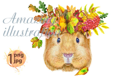 Watercolor portrait of Self guinea pig with wreath of leaves