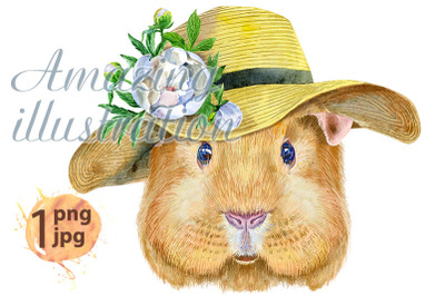 Watercolor portrait of Self guinea pig with summer hat
