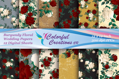Wedding Digital Papers Set, Burgundy Floral, Red and White Roses, Bouq