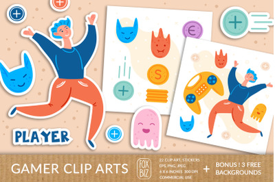Gamer clipart. Digital prints, stickers. Hand drawn vectors.