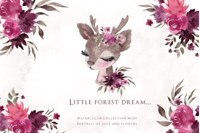 Little Forest Dream. Cute watercolor collection