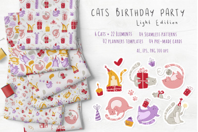 Cats Birthday Party - light edition vector set