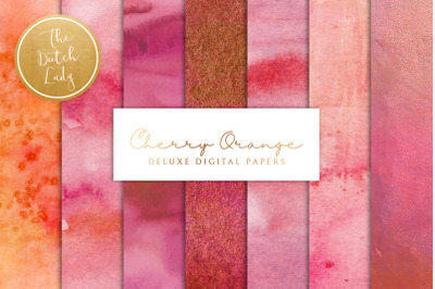 Cherry Red & Orange Watercolor Backgrounds