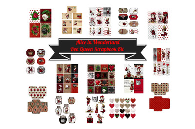 Alice in Wonderland Journal or Scrapbook Kit PDF