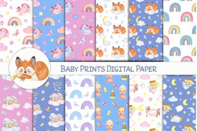 Nursery Digital Papers. Baby Papers. Rainbow digital paper, Newborn