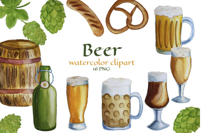 Watercolor Beer Clipart. Beer Mugs PNG. Oktoberfest poster