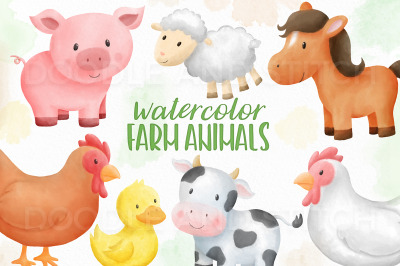 Farm Animal Watercolor Clipart