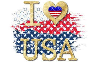 Sublimation I Love USA Gold Glitter on Amarican Flag Color