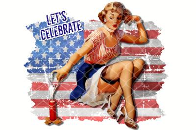 Sublimation Let's Celebrate Vintage Retro Lady with Firework PNG