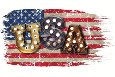 Sublimation Lightbulb Alphabet Font USA on the US Flag PNG