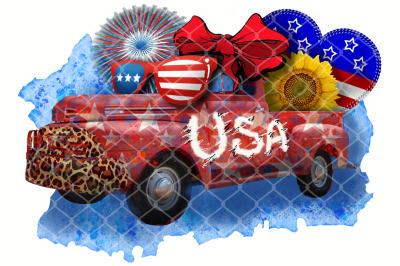Sublimation Independent Day Vintage USA Crazy Truck Sunflower Leopard