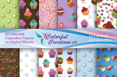 Cupcakes Set Digital Papers, SEAMLESS,  Cupcake Paper, Polka Dot Patte