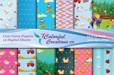 Cute Farm Digital Papers, Country Farmhouse scrapbook papers, Farm Ani