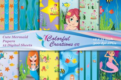 Cute Mermaid Digital Papers, Mermaid Scrapbook Papers, Mermaid Di