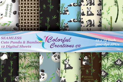 Panda and Bamboo Digital Papers, Seamless, Panda bear Images, Bamboo f