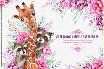 Watercolor Animals anf Flowers