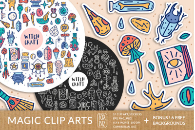 Magic clipart. Digital prints, stickers. Hand drawn vectors.