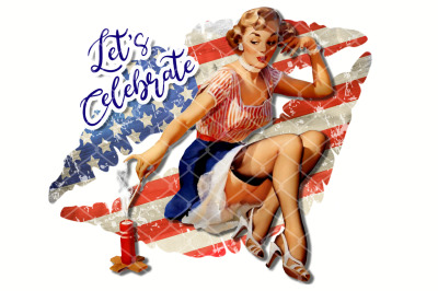 Sublimation Vintage Lady US Flag Kissing Lips