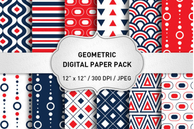 Blue and Red Geometric Digital Paper