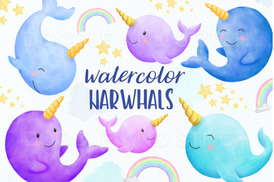 Cute Narwhal Watercolor Illustrations