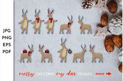 Christmas Deer. Reindeer Clipart