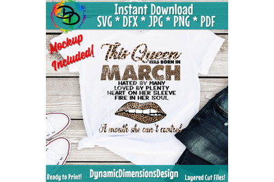 March girl svg, March birthday svg, This Queen was born, Women born in