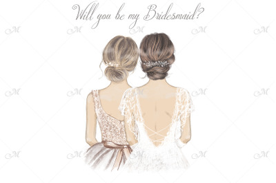Bride and Bridesmaid Illustration