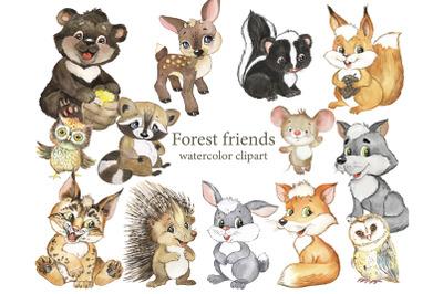 Forest friends watercolor clipart. Forest inhabitants, animal nurserie
