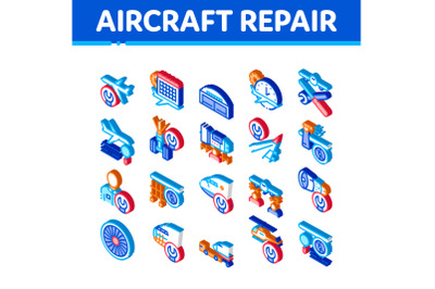 Aircraft Repair Tool Isometric Icons Set Vector