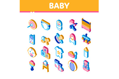 Baby Clothes And Tools Isometric Icons Set Vector