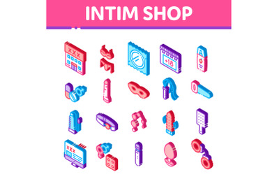 Intim Shop Sex Toys Isometric Icons Set Vector
