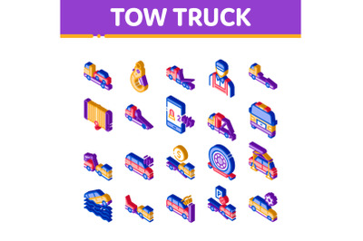Tow Truck Transport Isometric Icons Set Vector