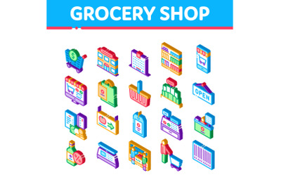 Grocery Shop Shopping Isometric Icons Set Vector