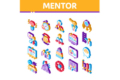 Mentor Relationship Isometric Icons Set Vector