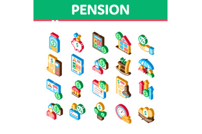 Pension Retirement Isometric Icons Set Vector