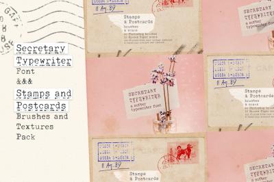 Secretary Typewriter font & Stamp and Paper Set