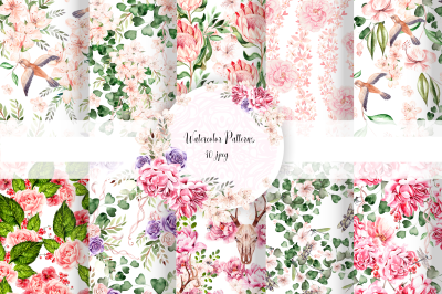 10 Hand Drawn Watercolor patterns